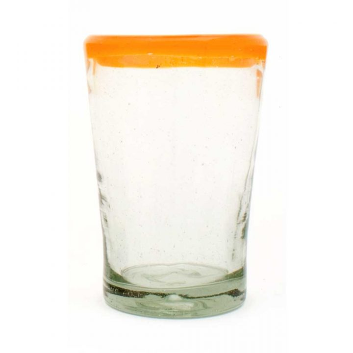 clear with an orange rim flared