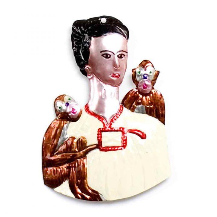 tin decorations frida kahlo and monkeys