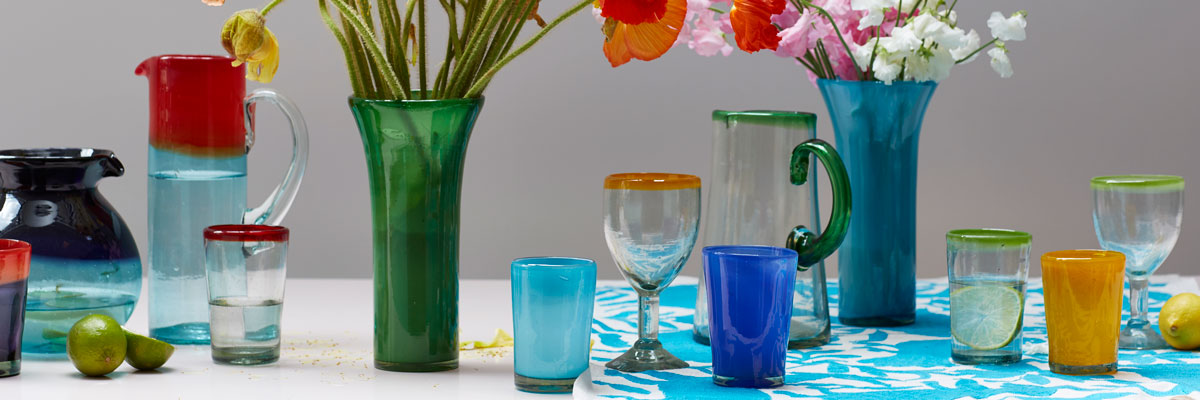 Recycled glassware hand made in Mexico.