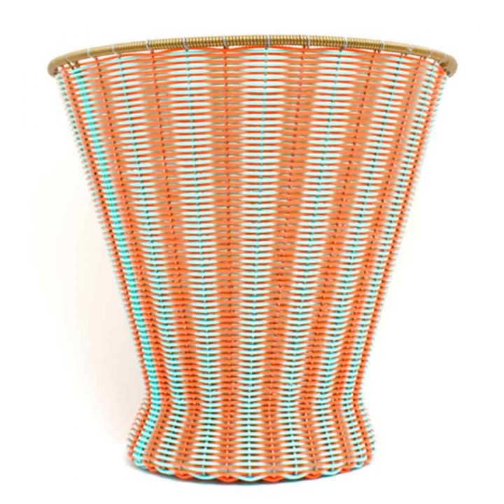 orange and green waste paper basket