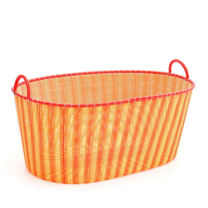 orange and yellow ironing baskets