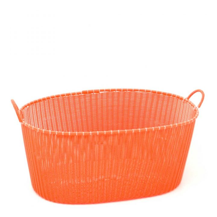 orange ironing basket