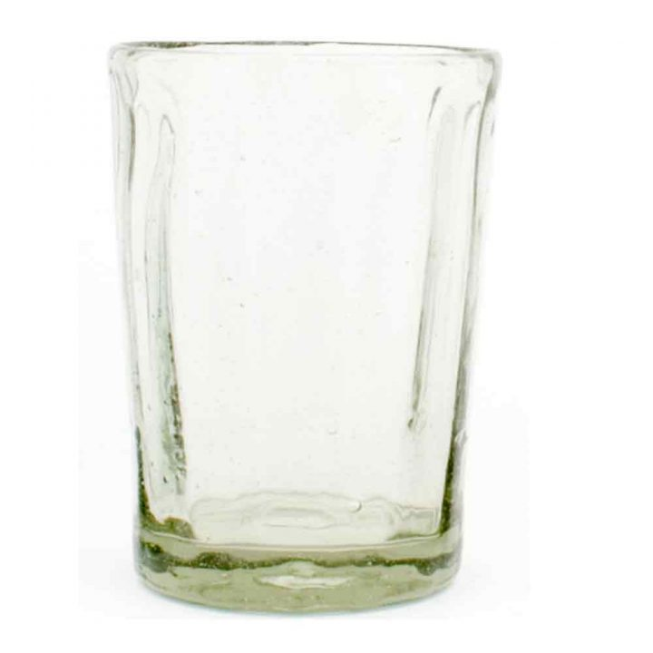 wahaca clear ribbed recycled hand made Mexican glass tumbler
