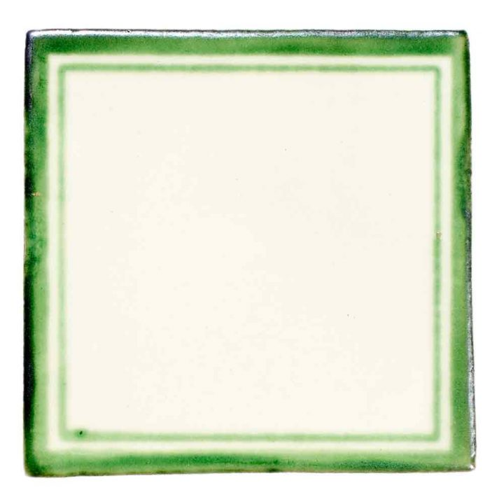 daisy may green hand made tile.