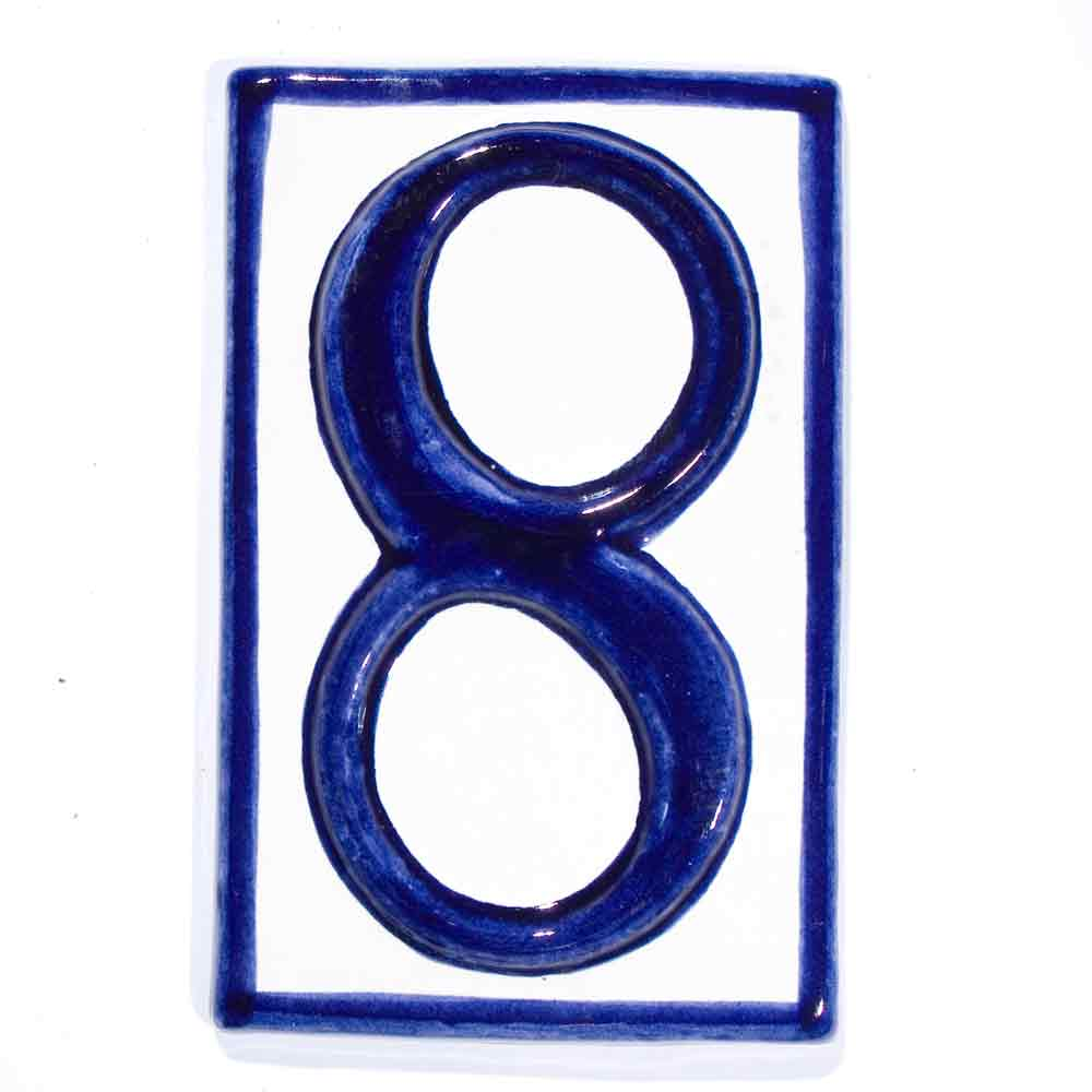 number eight hand made house number tiles