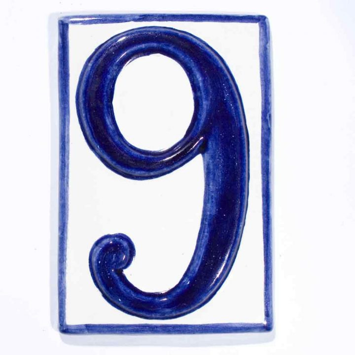 number nine hand made house number tile