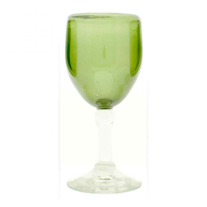 olive wineglass hand made from recycled glass
