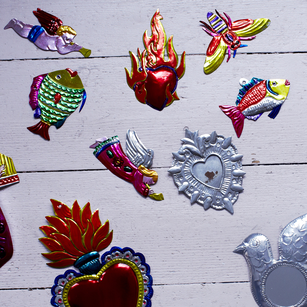 tin decorations hand made in mexico.