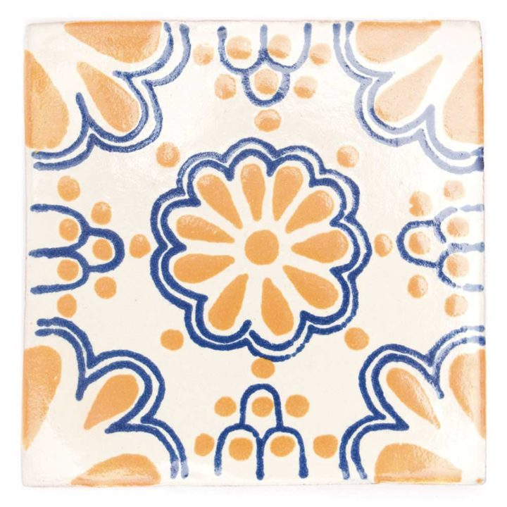 lace yellow and blue hand made mexican tiles