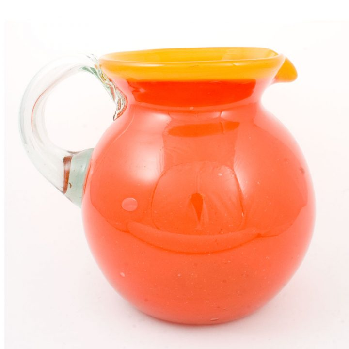 orange and yellow mexican hand made rim round jug