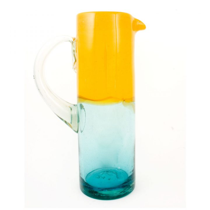 hand made mexican turquoise and yellow straight jug