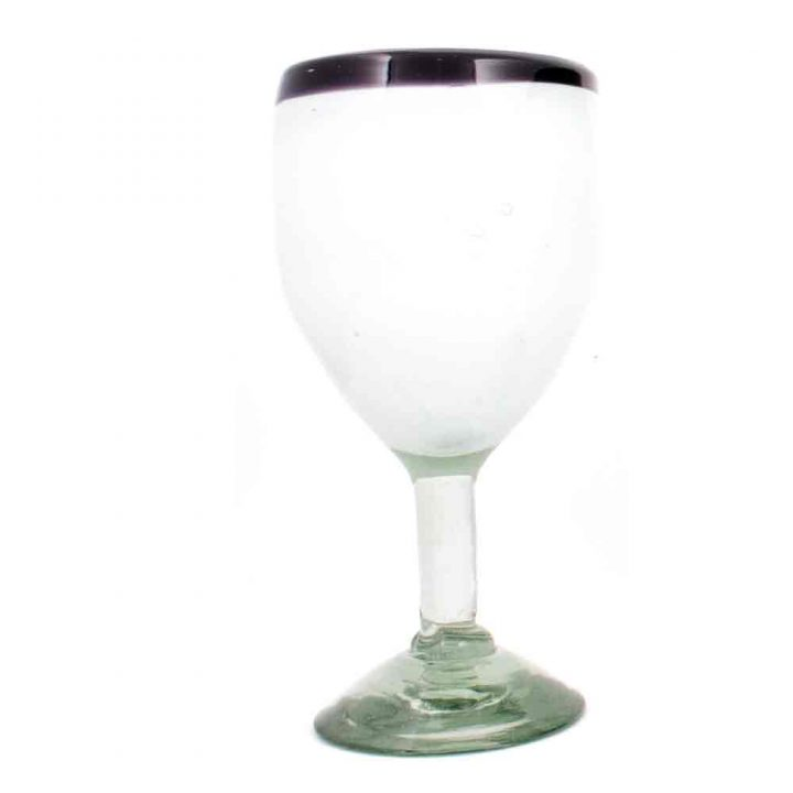 white with a purple rim wine glass