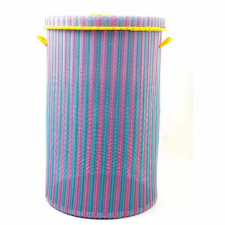 Pistachio and pink laundry basket