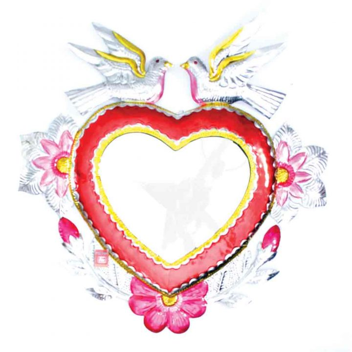 tin heart mirror with doves
