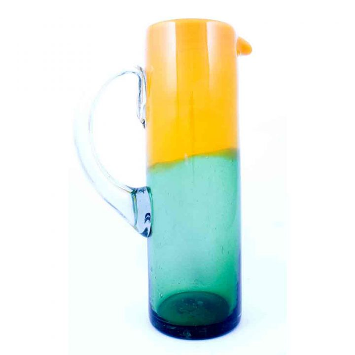 yellow and green straight jug