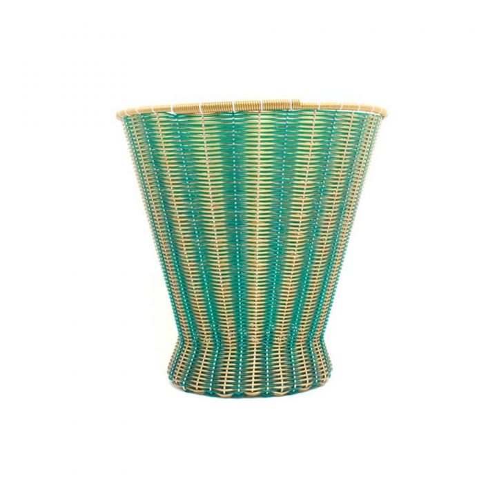 Dark green and gold paper basket