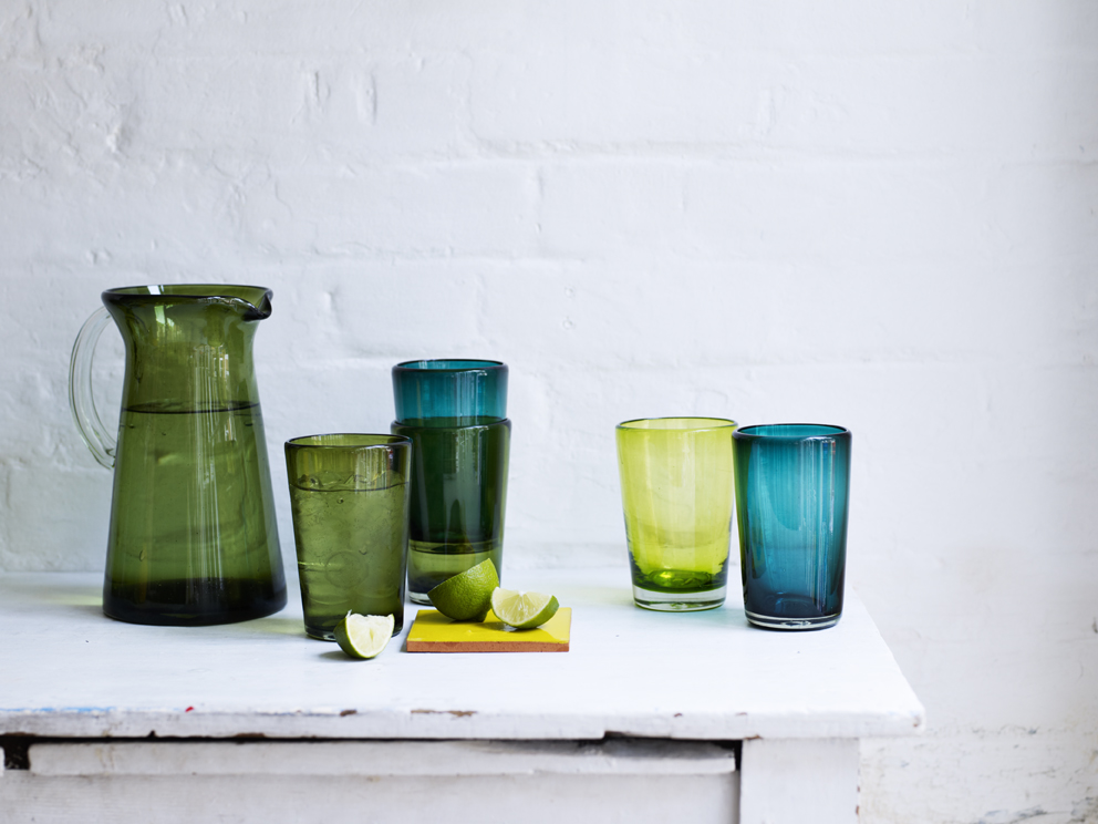 Recycled glassware hand made in Mexico