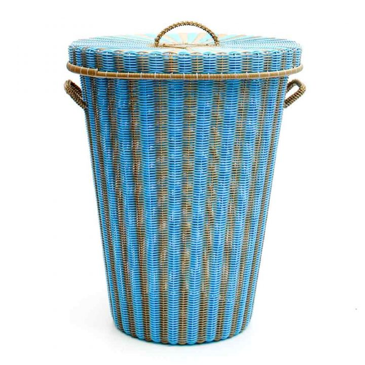 turquoise and gold conical laundry basket