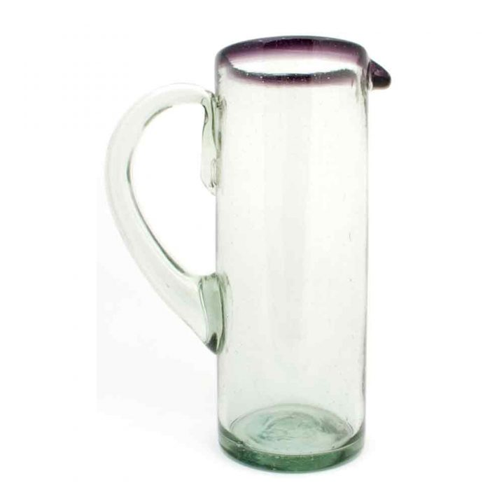 clear with a purple rim straight jug hand made in mexico