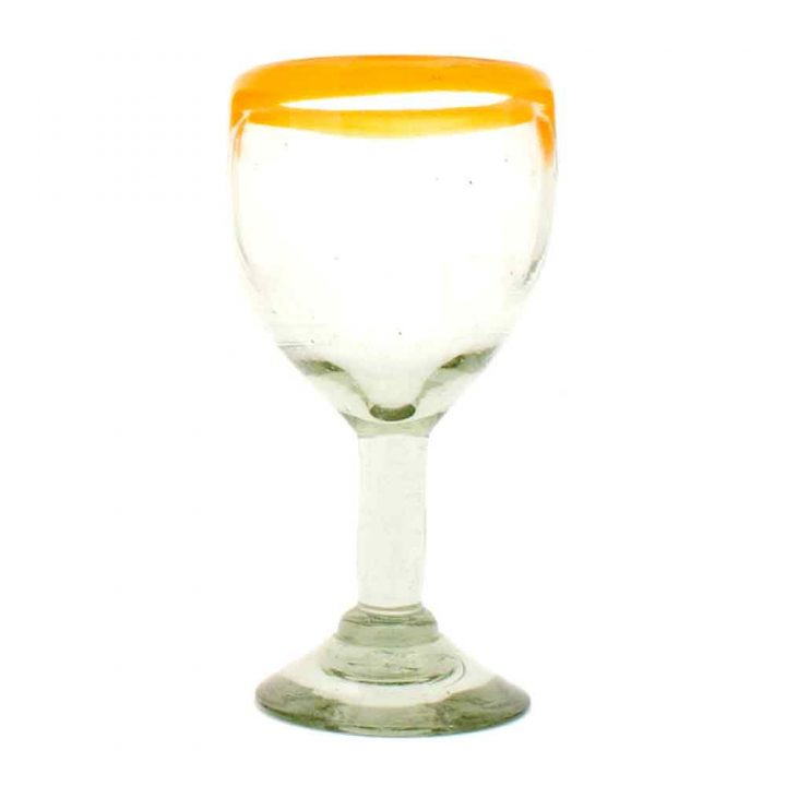 clear with a yellow rim hand made in Mexico from recycled glass