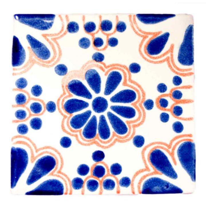 lace blue and terracotta hand made tiles.