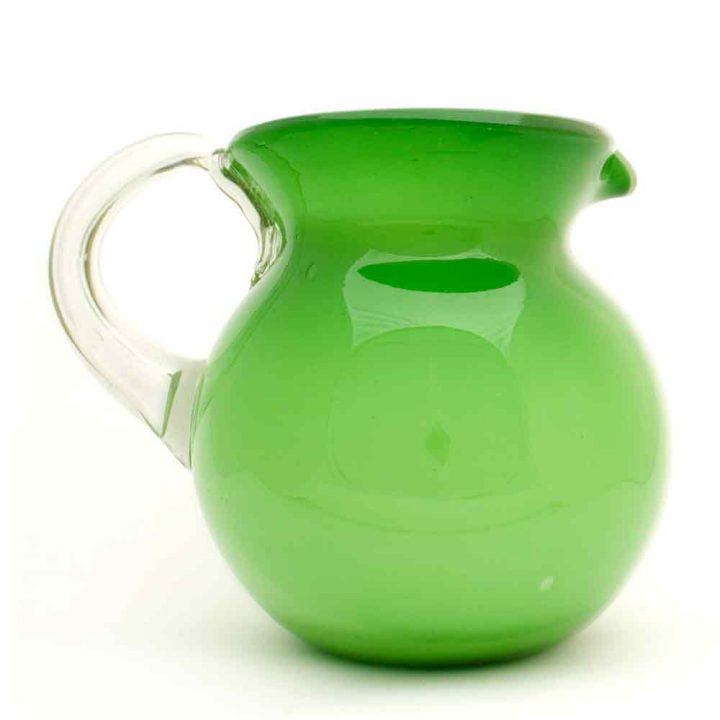 milky green round jug hand made in mexico