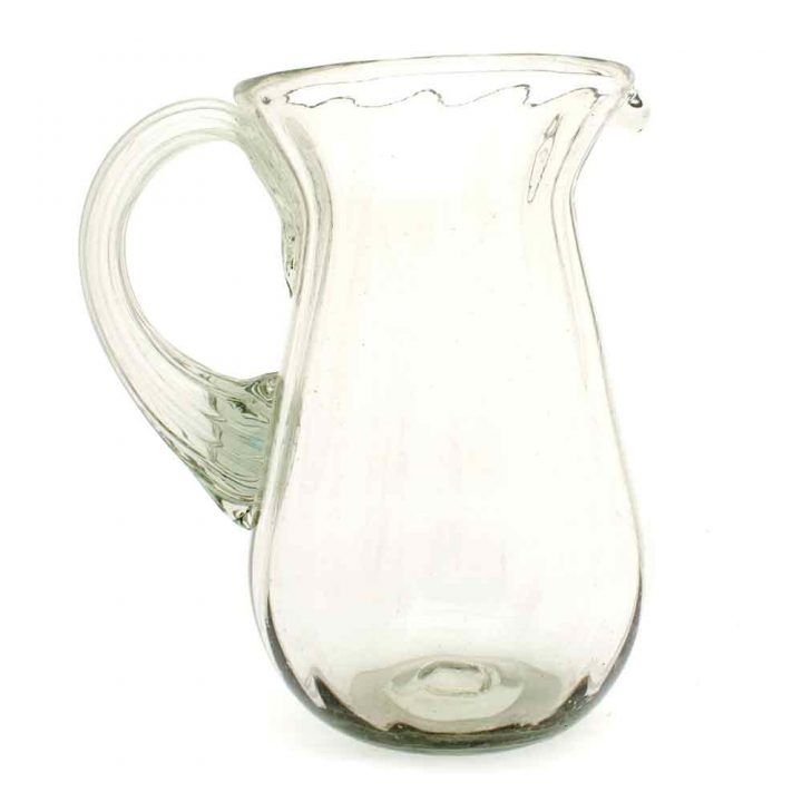 clear ribbed pear shaped jug hand made in mexico