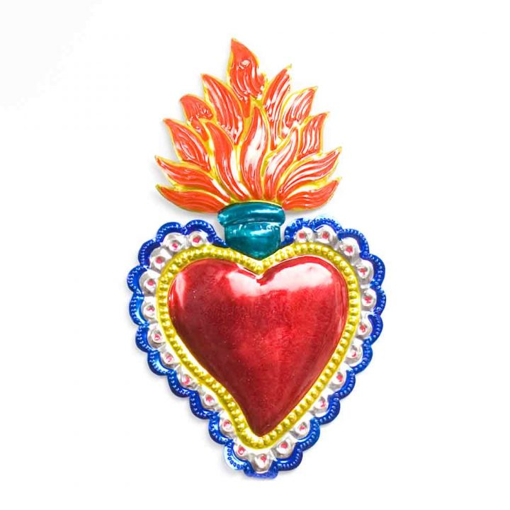 flaming tin heart from mexico.