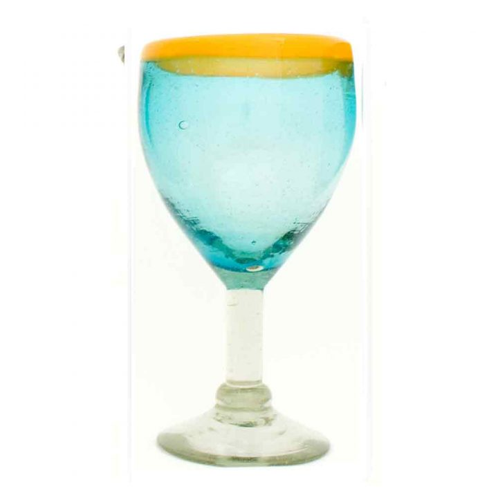 turquoise with a yellow rim wineglass