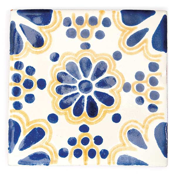 lace blue and yellow hand made mexican wall tiles