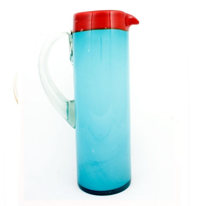 milky turquoise and red hand made mexican straight jug