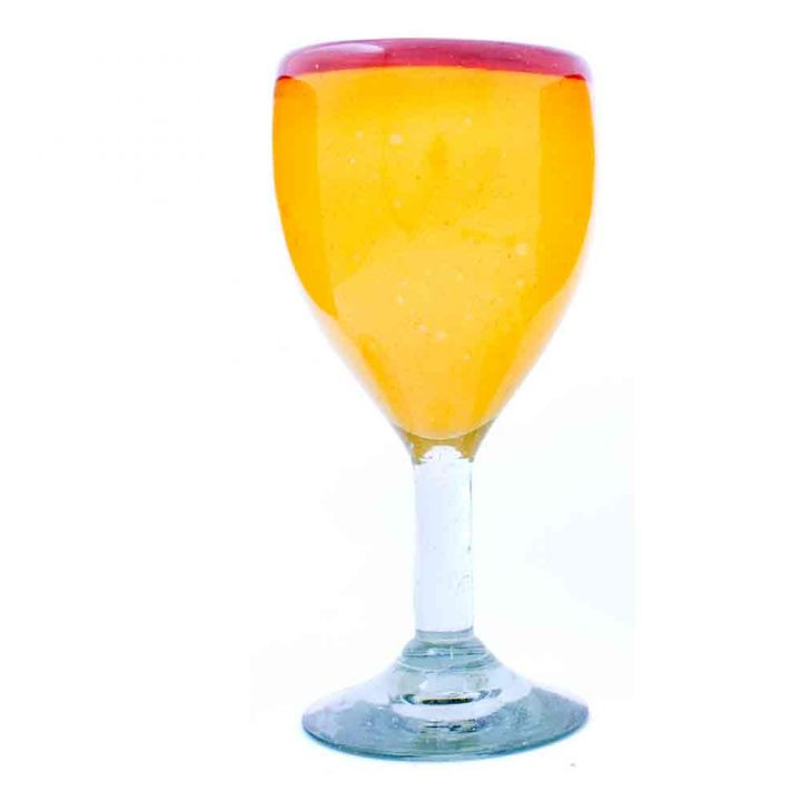 yellow and red rim wine glass.