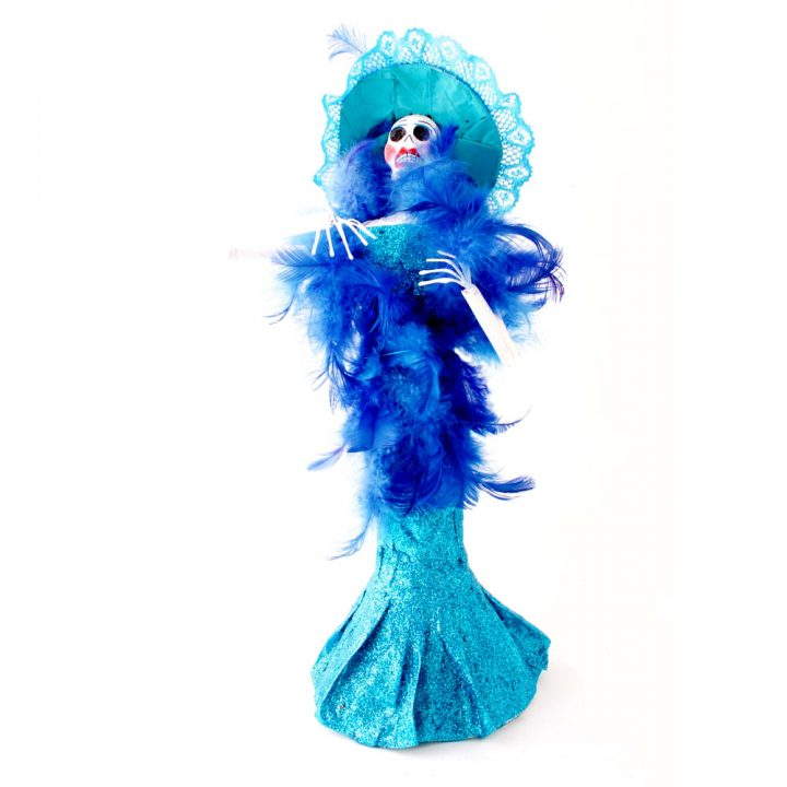 Blue paper maiche skeleton